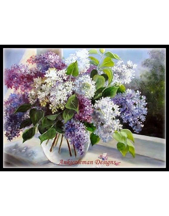 Lilac Vase By The Window Counted Cross Stitch Patterns